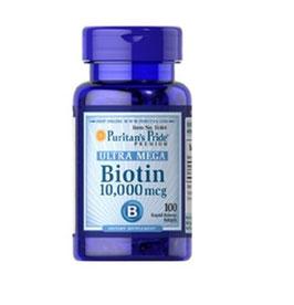 Biotina de 10, 000 mcg.- Puritan Pride - Ultra Mega - 100 comp.