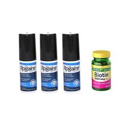 Minoxidil Rogaine (Liquido) + Biotina de 1000 mcg - Spring Valley -150 cap