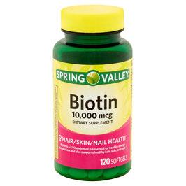 Biotina de 10, 000 mcg. Spring Valley