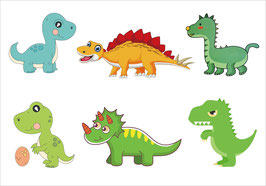 LES 6  DINOSAURES  STICKERS