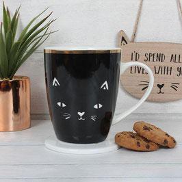 """Coffret mug et dessous de mug chat """"Crazy Cat Lady"""""""