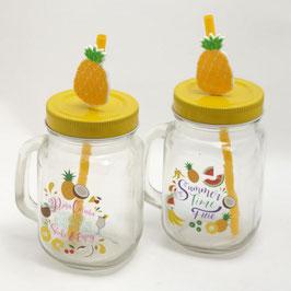 Jarre (mason jar) en verre avec paille ananas