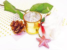 Photophore doré pour bougie votive en verre - Heart & Home