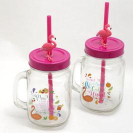 Jarre (mason jar) en verre avec paille flamant rose