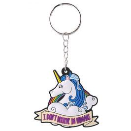 Porte-clé licorne avec crinière bleue et arc-en-ciel