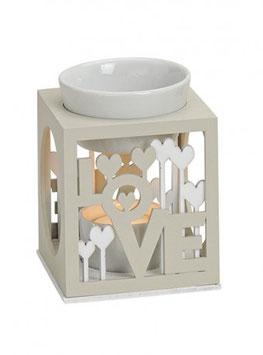 "Brûleur ""Love"" beige et blanc en bois"