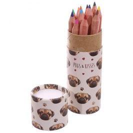 """Boite de crayons de couleur carlin """"Pugs & Kisses"""""""
