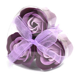Lot de 3 roses violettes en savon