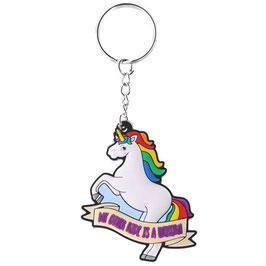 Porte-clé licorne avec crinière arc-en-ciel