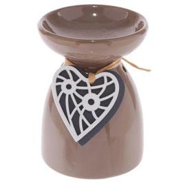 Brûleur avec décoration coeur taupe en céramique