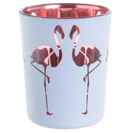 Photophore flamant rose pour bougie votive en verre