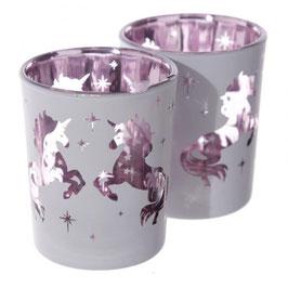 Photophore licorne rose pour bougie votive en verre