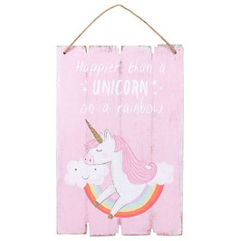 "Décoration murale licorne ""Happier Than A Unicorn On A Rainbow"""
