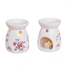 Brûleur avec motifs fleurs blanc en céramique