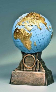 Resinfigur Weltkugel / Pokal 172mm - Inklusive Gravurschild mit Gravu