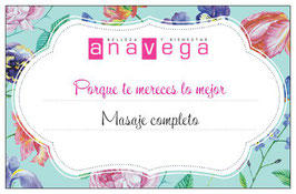 Ana Vega | bono regalo Masaje corporal completo 1h
