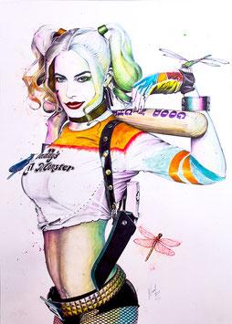 "Lámina ""Harley Quinn & Dragonflies"" by Nasel"