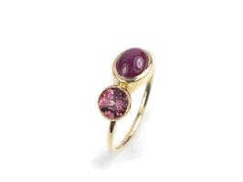 Ring in Gelbgold 585/000 mit rosa Turmalin und Rubin