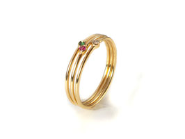 Ring in Gelbgold 750/000 mit Brillant oder Rubin oder Saphir oder Smaragd