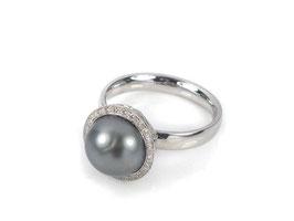 Ring in Weißgold 585/000 mit Tahiti-Perle und Brillanten