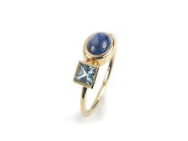 Ring in Gelbgold 585/000 mit Blautopas und Saphir