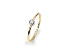 Ring in Gelbgold 585/000 und Platin 950/000 mit Brillant
