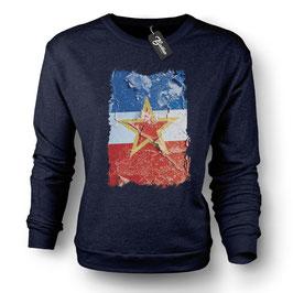 Balkan Apparel - Yugoslavia Flag Crewneck Sweater Damen