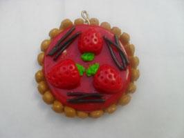 Pendentif tarte aux fraises