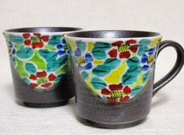 ペアマグカップ 花文