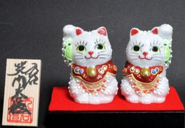 ペア招き猫 白盛 2.3号