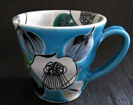 マグカップ 古染椿 ブルー