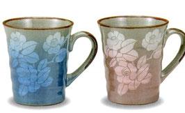 ペアマグカップ 銀彩山茶花