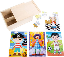 Puzzle-Box 4 in 1 Jungs im Kostüm