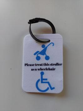 Bagage label voor aan wandelwagen