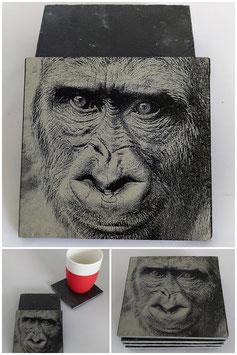 Set van vier onderzetters van leisteen-Gorilla