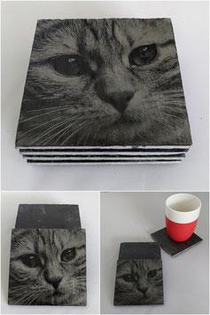 Set van vier onderzetters van leisteen-kat