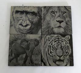 Set van vier onderzetters van leisteen-safari