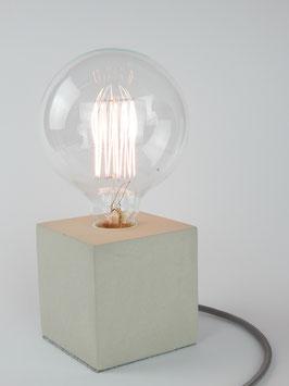 """Cube-Betonlampe mit Textilkabel """"Rot-Weiß"""""""