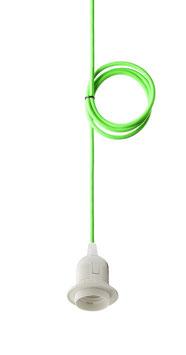 Textilkabel Neon-Grün mit E27 Fassung