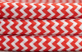 "Textilkabel ""Rot-Weiß zickzack"""