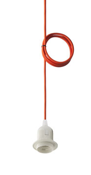 Textilkabel Orange mit E27 Fassung