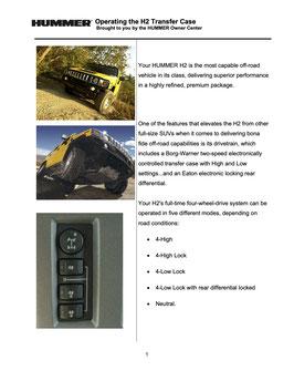 Hummer H2 Allrad Bedienung 03 - 07 PDF