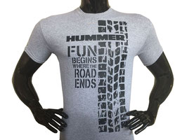 Hummerfreak T-shirt ''fun begins where the road ends''