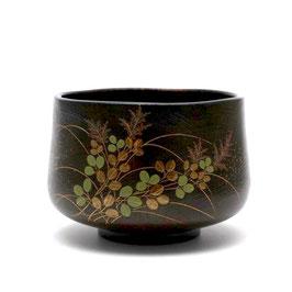 萩蒔絵茶盌 木製漆塗 吉田華正作