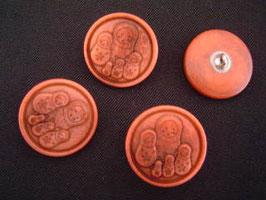Steinnussknopf mit Öse, 23 mm, Farbe:48 rot