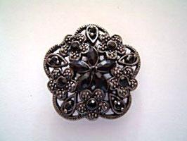 Metallknopf mit Öse, echt Strass, echt versilbert, 40 mm, Farbe: 832