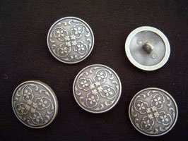 Metallknopf mit Öse, versilbert, 23 mm, Farbe: 832 silber-grau