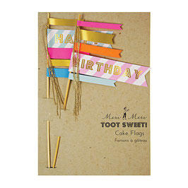 "MERI MERI Geburtstags-Kuchenflaggen  ""Toot Sweet Cake Flags"""