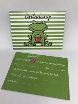 """5 x Einladungskarte """"Frosch"""""""