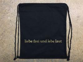 Turnsack liebe frei & lebe laut - Schwarz/Gold